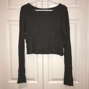 Brandy Melville Grey Ribbed Long Sleeve Shirt